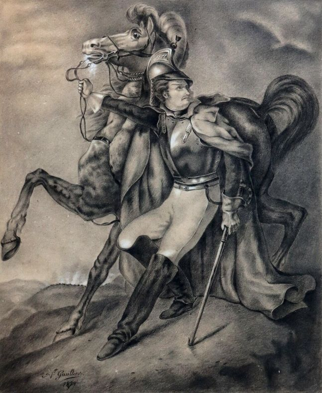 Superbe fusain dessin original  cuirassier Géricault. A. Gaultier