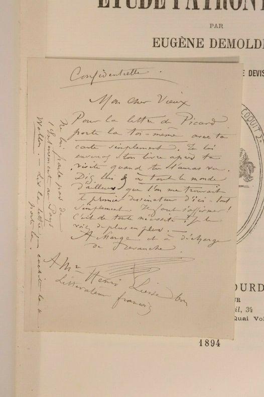 Etude Patronymique par Eugène Demolder, avec quelques reproductions brutales de devises inédites du temps.  + Billet autographe . Eugène Demolder. ...