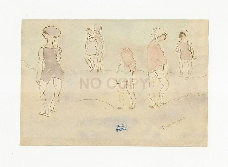 """Dessin original encre brune lavis d'aquarelle """"Six femmes légèrement vêtues"""" (sans doute des femmes prostituées faisant le trottoir). Jules Pascin"""