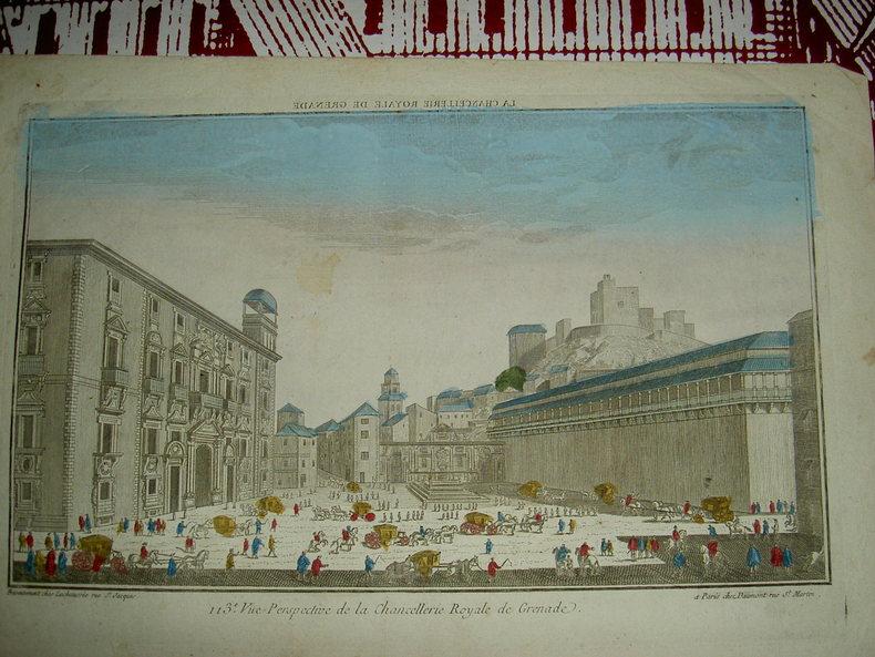 Vue perspective de la Chancellerie Royale de Grenade. Vue d'Optique du dix-huitième siècle