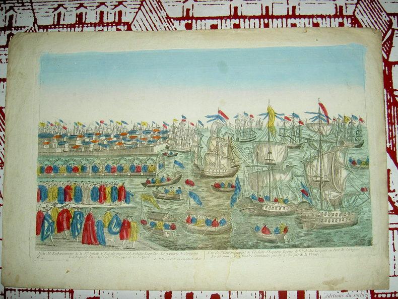 Vue de l'embarquement de l'Infante d'Espagne, épouse de l'archiduc Léopoldau port de Cartagène le 25 juin 1765, l'escadre  commandée par M. le Marquis ...