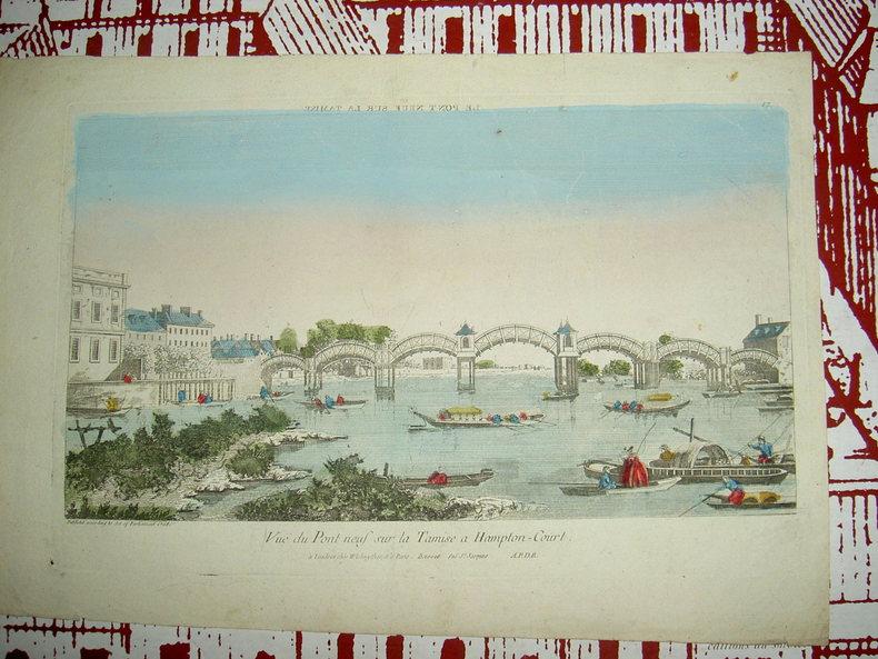 Vue du Pont Neuf sur la Tamise à Hampton Court. Vue d'Optique du dix-huitième siècle
