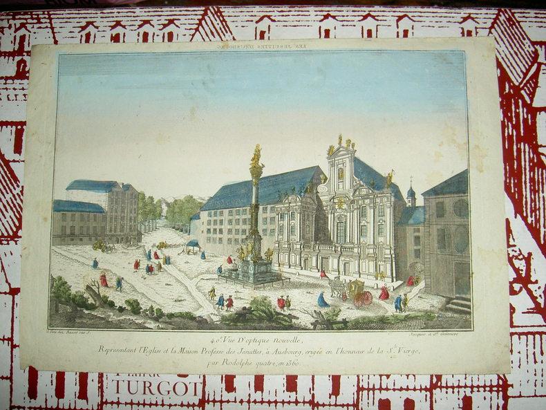 Vue d'optique nouvelle représentant l'église et la maison professe des jésuites à Ausbourg, érigée en l'honneur de la Ste Vierge par Rodolphe  quatre ...