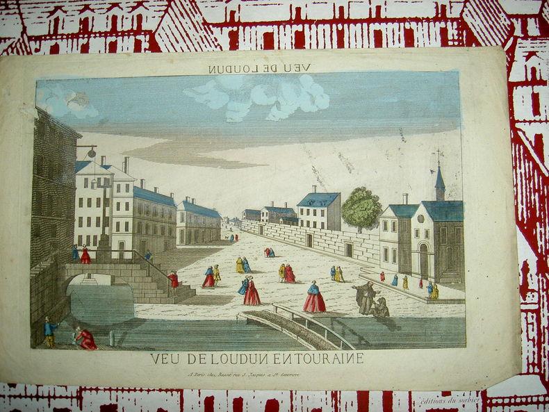 Vue de Loudun en Touraine. Vue d'Optique du dix-huitième siècle