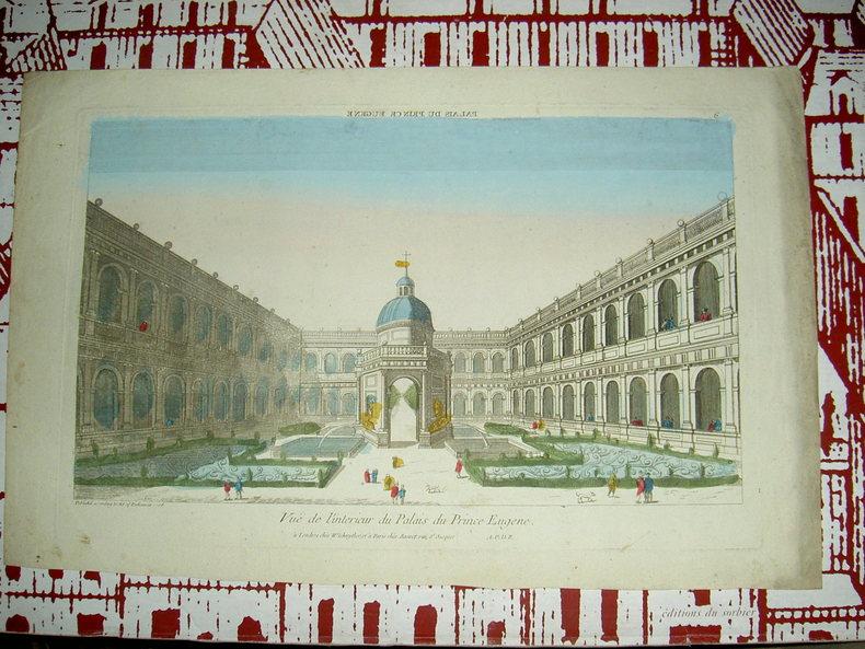 Vue de l'intérieur du palais du Prince Eugène. Vue d'Optique du dix-huitième siècle