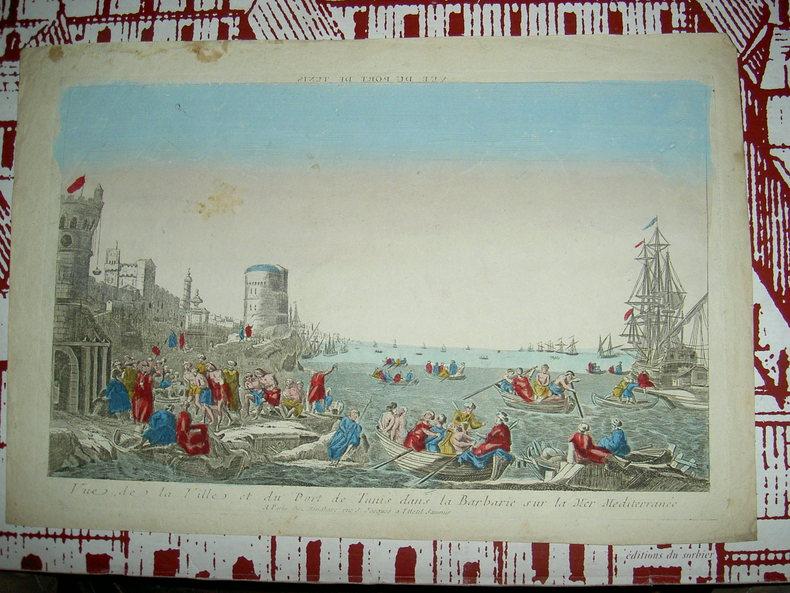 Vue de la ville et du port de Tunis dans la Barbarie sur la mer Méditerranée. Vue d'Optique du dix-huitième siècle