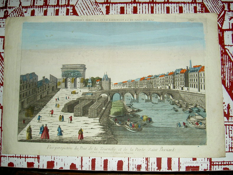 Vue perspective du pont de La Tournelle et de la porte Saint Bernard.. Vue d'Optique du dix-huitième siècle