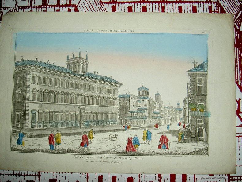 Vue perspective du Palais de Ruspoli à Rome.. Vue d'Optique du dix-huitième siècle