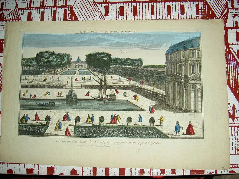 Vue du fond du jardin de St Ildefonse, appartenant au roy d'espagne.. Vue d'Optique du dix-huitième siècle