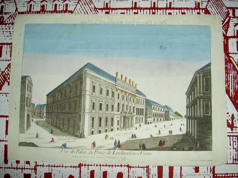 Vue du palais de Liechtenstein à Vienne. Vue d'Optique du dix-huitième siècle