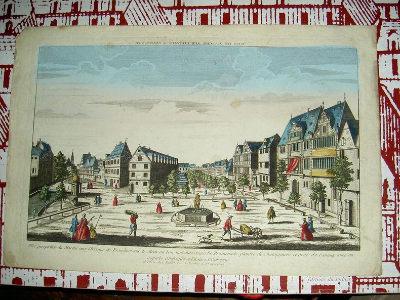 Vue perspective du marché aux chevaux de Francfort sur le Mein où l'on voit une superbe promenade plantée de châtaigniers et orné de canaux avec un ...