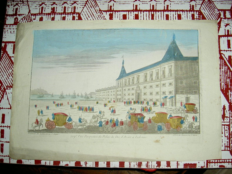 Vue perspective du palais du Duc d'Aveiro à Lisbonne.. Vue d'Optique du dix-huitième siècle