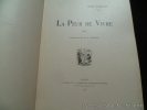 La peur de vivre.. Henry Bordeaux. llustrations de A. Vallet