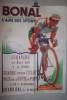 Affiche BONNAL Gentiane-Quina l'ami des sportifs. Dimanche 12 Août1951: Grande course cycliste.. LEMMEL