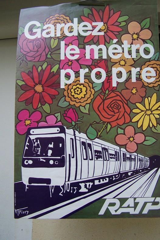 AFFICHE: RATP Gardez le métro propre.. PIVRY V T