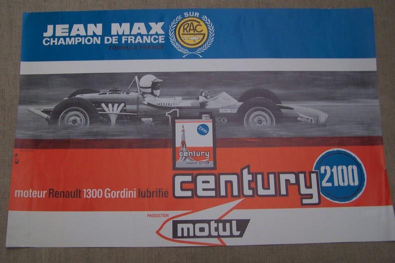Affichette: Jean Max champion de France Formule France sur RAC moteur Renault 1300 Gordini..
