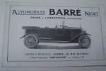 Automobilkes Barré Niort. Barré & Lamberthon successeurs. Torpedo Barré, 4 places. Torpedo Sport 4 places. Voitures de Luxe. .