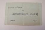 Société d'Etude des Automobiles D.S.R.  Paris, 1909..