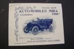 Automobiles MIRA 4 Cylindres Types D2, D, C. 20 rue d'Armenonville à Neuilly-sur-Seine. Saison 1907..