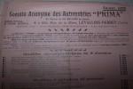 """Société Anonyme des Automobiles """"PRIMA"""" Siège Social et Usine à Levallois-Perret. Saison 1909.."""