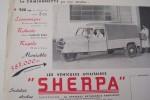 """Les véhicules utilitaires """"SHERPA"""" Camionnette 900 Kgs moteur PANHARD DYNA 5 CV. Constructeur: La Générale Automobile Parisienne à Noisy-le-Sec.."""