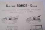 Carrosseries automobiles en blanc Gustave Borde à Dijon. Caisses ferrées et non ferrées de tous modèles..