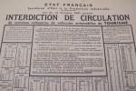 Etat Français, Secrétariat d'Etat à la Production Industrielle. Loi du 14 Octobre 1941 portant INTERDICTION DE CIRCULATION de certaines catégories de ...