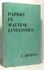 Papers in Maltese Linguistics. Aquilina Joseph