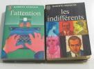 Lot de 2 livres L'attention - les indifférents. Moravia Alberto