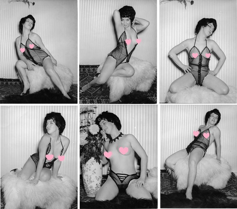 """Strip tease d'une espiègle brune.19 Photographies originales en tirage argentique.. Fonds de la célèbre revue de Charme """"Paris-Hollywood"""" - ANONYME."""