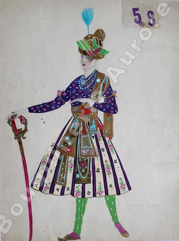 Costume de guerrier oriental en turban pour Ballet ou Opéra.. BRUNELLESCHI (Umberto).