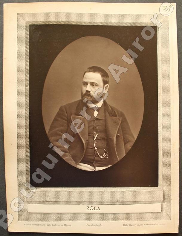 Portrait photographique d'Emile ZOLA, cliché de Carjat.. [ZOLA (Emile)] - CARJAT - Galerie Contemporaine.