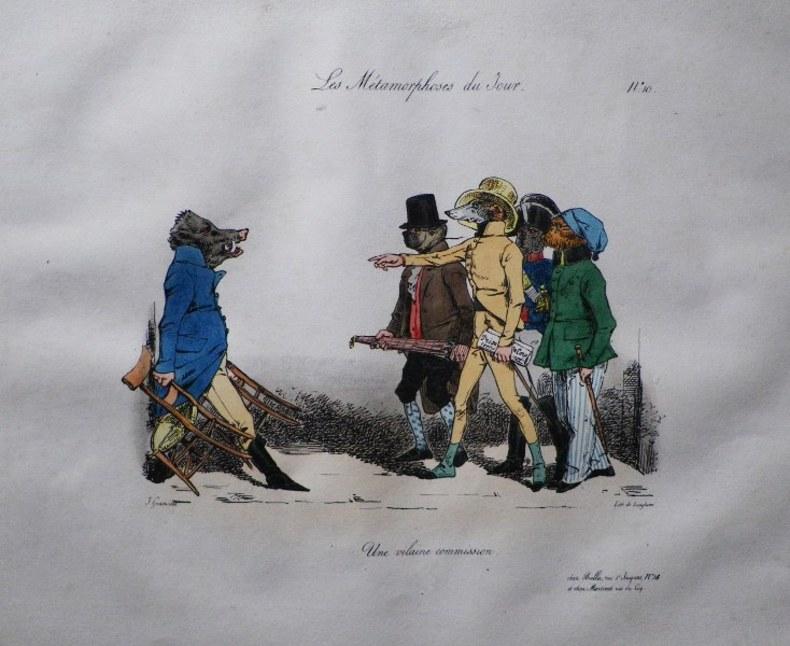 """Les Métamorphoses du Jour. Planche No. 10. """" Une vilaine commission. """".. GRANDVILLE (Jean-Ignace-Isidore Gérard dit)."""