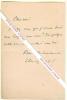 Billet autographe signé d'Henry Becques, Dramaturge français (La Parisienne, Le Corbeau).. Henry BECQUES (Henry-François BECQUES, dit) (1837-1899) - ...
