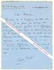 Lettre autographe signée d'Anfré Frank, Homme de lettres, de théâtre, de radio et de télévision, créateur avec Jean-Louis Barrault des Cahiers ...