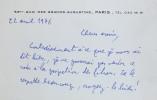 Carte manuscrite autographe signée.. LEIRIS (Michel).