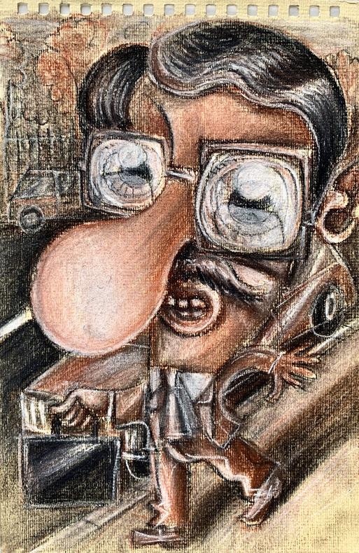 Homme au cartable.. (GRAPHZINE) PLACID (Jean-François DUVAL, dit).
