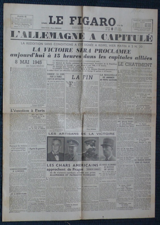 LE FIGARO N° 226 - Mardi 8 mai 1945 - L'Allemagne a capitulé.. Collectif
