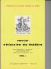 REVUE D'HISTOIRE DU THÉÂTRE • Numéro 137 : Jacques Copeau (1879-1979). Société d'histoire du théâtre