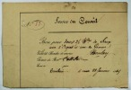 [Palais des Tuileries]. Service du Conseil. N°83. Bon pour deux 2fr. B.lles de Sirop une d'Orgeat et une de Pomme Valet de chambre de service Boulay ...