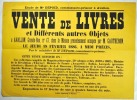 [Vente aux enchères. Livres. Avallon. 1886]. Vente de Livres et différents autres objets à Avallon, Grande-Rue, n°47n dans la Maison précédemment ...