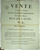 [Vente aux enchères. Paris. 1813]. Vente après le décès de Mme. Heudeline-Lamancelière, Marchande Modes, Rue du Lycée, N°2, Près l'Athénée, le Mardi ...