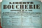 Liberté de la Boucherie. Suppression de la taxe. M. Couder, marchand Boucher, Rue de Beaune n°16, a l'honneur de prévenir le Public qu'il trouvera ...
