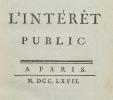 L'Intérêt Public.. ACCARIAS DE SERIONNE (Jacques).