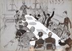 [Ecole des Beaux-arts. Caricatures. 1884]. Cahier des Charges. P.G..
