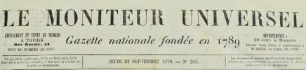 Le Moniteur Universel. Gazette Nationale fondée en 1789..