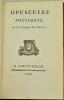 Opuscules poétiques, par M. le Chevalier de Parny.. PARNY (Evariste, chevalier de).