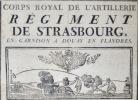 Corps Royal d'Artillerie. Régiment de Strasbourg, en garnison à Douay en Flandres..
