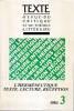 Texte  n° 3, 1984: L'herméneutique texte, lecture, réception, . COLLECTIF (revue),