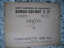 Pieces de rechange pour camionnette 1000 kgs 206 EI - Societe champenoise des etablissements Dumas-Colinot & Cie a Troyes. Anonyme